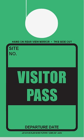High Visibility Green Visitor Pass