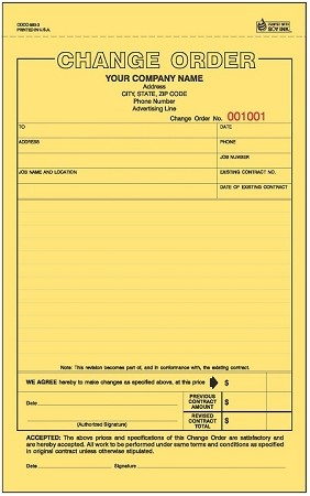 COCC-583 3-Part Change Order Form