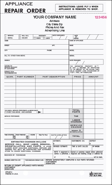 APR-667 4-Part Appliance Repair Order
