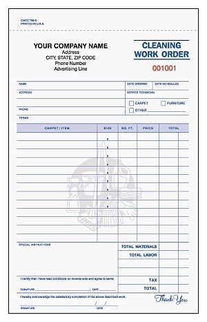 CWCC-799 3-Part Cleaning Work Order