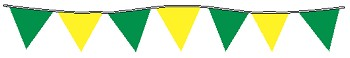 100' String Of Green & Yellow Alternating Plasticloth Pennants