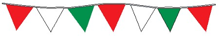 100' String Of Red, White & Green Alternating Plasticloth Pennants