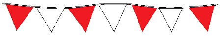 100' String Of Red & White Alternating Plasticloth Pennants