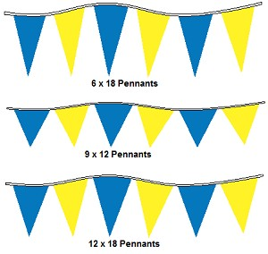 120' Blue & Yellow Alternating 4Mil Pennants