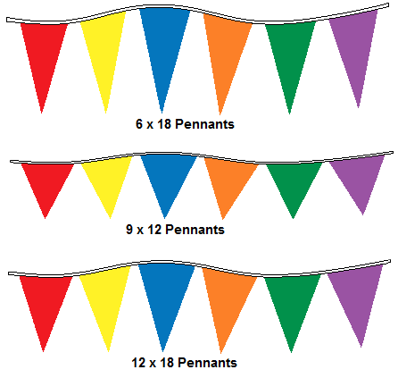 Multi-Colored Alternating 4Mil Pennants