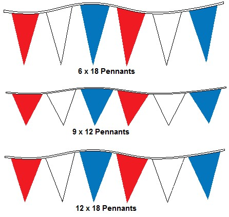 120' Red, White & Blue Alternating 4Mil Pennants