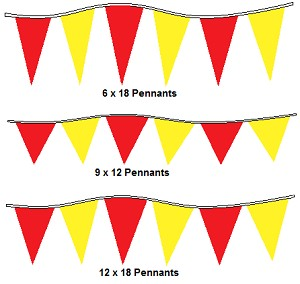 120' Red & Yellow Alternating 4Mil Pennants