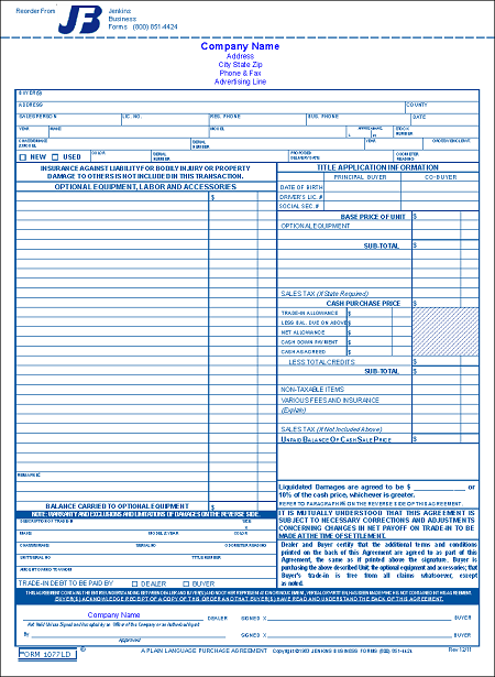 Form 1077LD  Florida RV Purchase Agreement