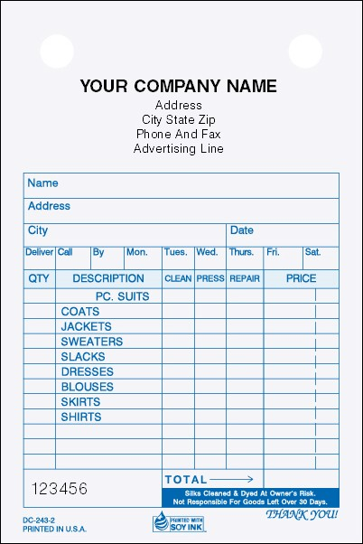 DC-243 3-Part Dry Cleaners Register Form