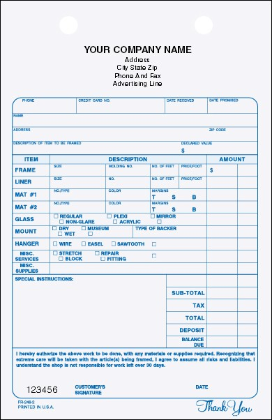FR-248 2-Part Framing Register Form