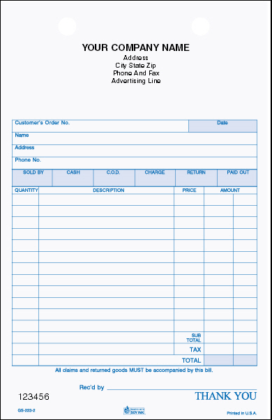 GS-223 2-Part General Sales Register