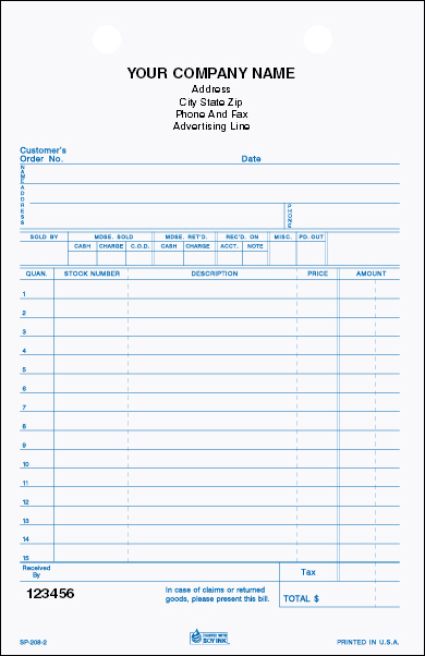 SP-208 Stock Parts 3-Part Register Form