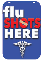 Swing Sign Replacement Single Sided Sign - FLU SHOTS HERE