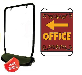 Single Sided Swing Sign Kit - OFFICE Left Arrow