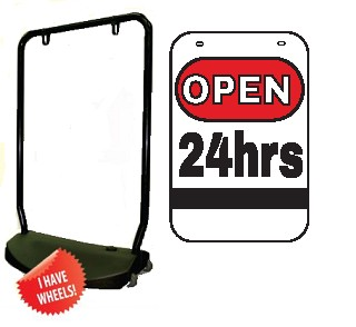 Single Sided Swing Sign Kit - OPEN 24 HRS