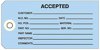 'Accepted' Blue Colored Work Order Tags 2-3/8