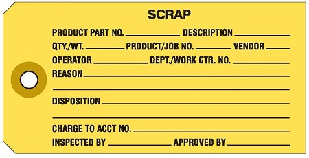 'Scrap' Manila Colored Work Order Tags 2-3/8