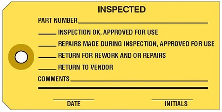 'Inspected' Yellow Colored Work Order Tags 2-3/8