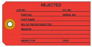 "'Rejected' Red Manila Colored Work Order Tags 2-3/8"" x 4.75"""