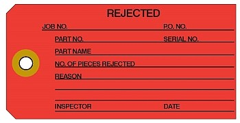 'Rejected' Red Manila Colored Work Order Tags 2-3/8