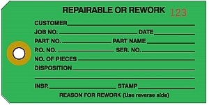'Repairable Or Rework' Green Colored Work Order Tags 2-3/8
