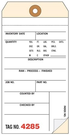 STWCC-343  3-Part Inventory Tag